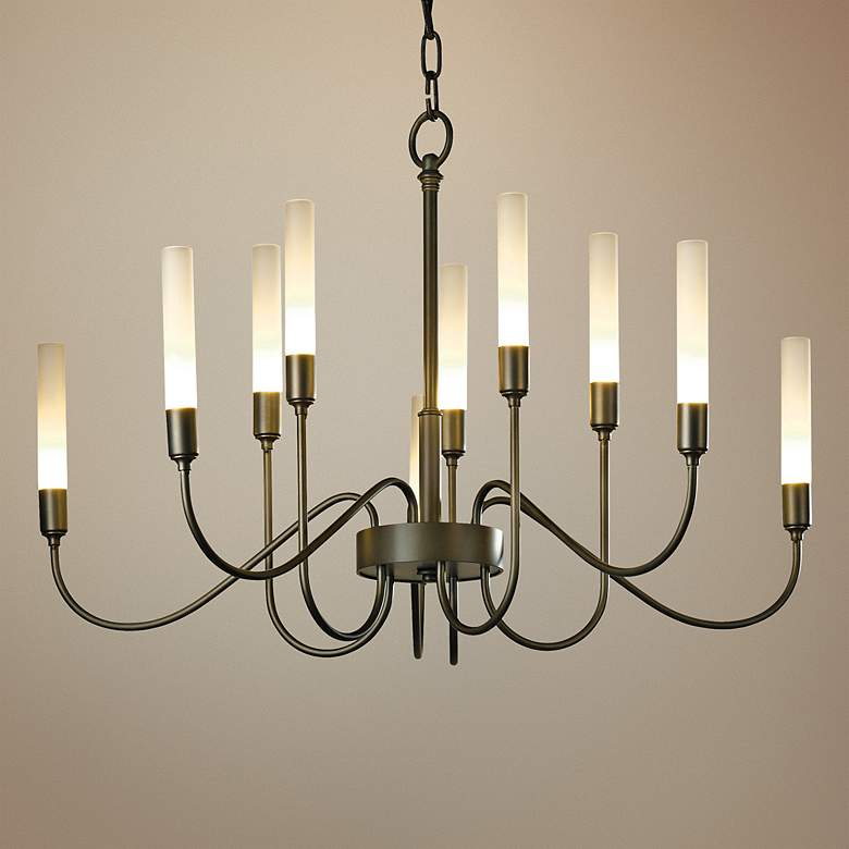 "Hubbardton Forge Lisse 28 1/2""W Smoke 10-Light Chandelier"