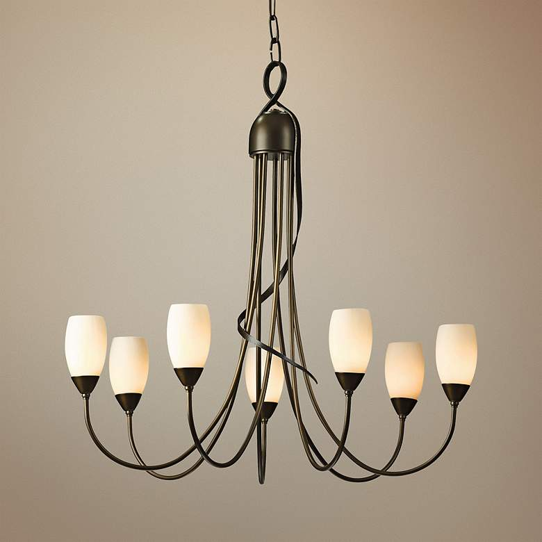 "Hubbardton Forge Flora 25"" Wide Bronze 7-Light Chandelier"