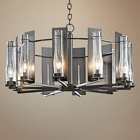 "Hubbardton Forge New Town 30""W Smoke 10-Light Chandelier"