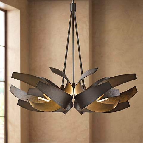 "Hubbardton Forge Corona 35""W Smoke 6-Light Chandelier"