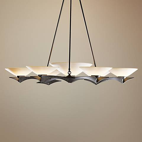 "Hubbardton Forge Moreau 40 1/2""W Smoke 7-Light Chandelier"