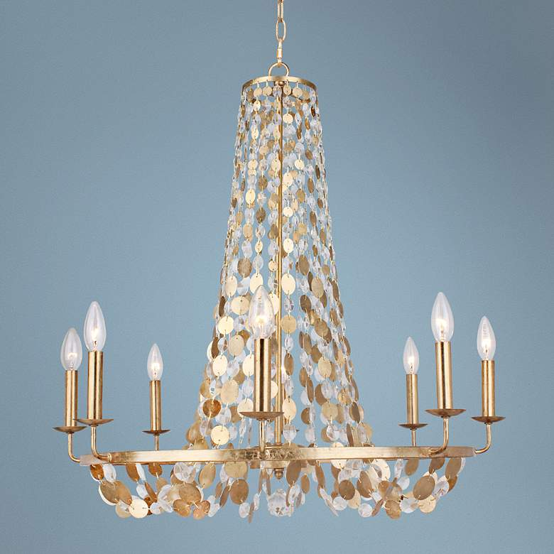 "Crystorama Bella 29"" Wide Antique Gold 8-Light Chandelier"