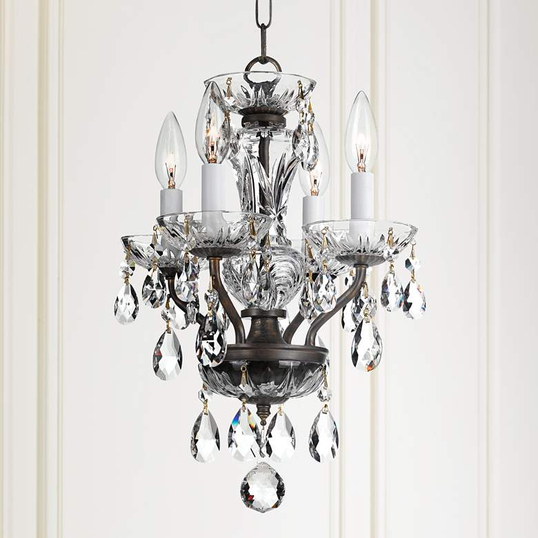 "Crystorama Traditional Crystal 11""W Bronze Mini Chandelier"
