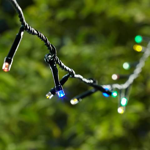 Multicolor 66' Battery Operated Timer LED String Lights