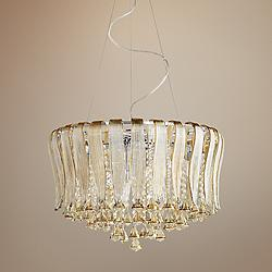 "Olivia 23 1/4"" Wide Murano Cognac Glass 8-Light Pendant"