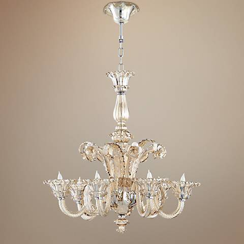 "La Scala 30 1/2"" Wide Murano Glass Cognac Chandelier"