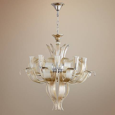 "Juliana 34"" Wide Murano Cognac 10-Light Glass Chandelier"