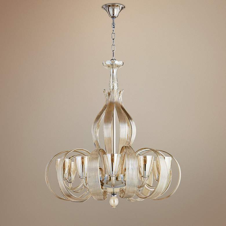 "Lucile 32"" Wide Murano Cognac Glass 10-Light Chandelier"