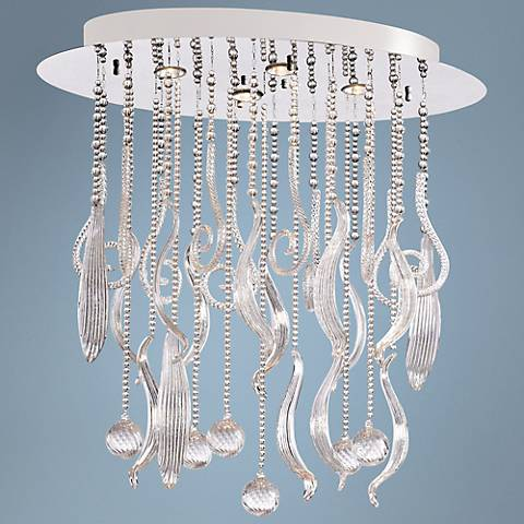"Mirabelle 45 1/4"" Wide Clear Glass Pendant Light"