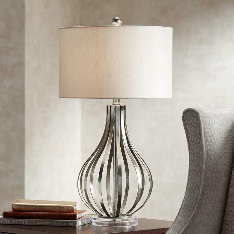 Hayden Silver Finish Open Gourd Table Lamp by Possini Euro