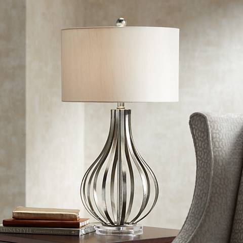 Hayden Silver Champagne Open Gourd Table Lamp