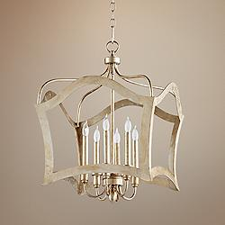 "Milan 25"" Wide Aged Silver Leaf 6-Light Iron Pendant"