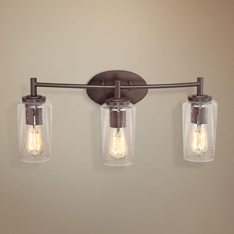 "Quoizel Edison 23"" Wide Bronze 3-Light Bathroom Fixture"