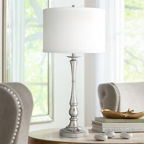 Quoizel Ambrose 3 Light Brushed Nickel Table Lamp 6t378 Lamps Plus