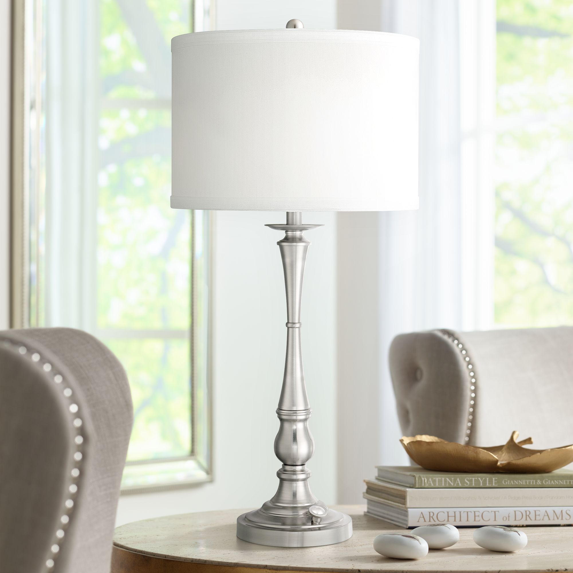 Quoizel Ambrose 3 Light Brushed Nickel Table Lamp
