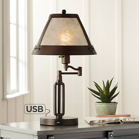 samuel swing arm desk lamp with mica shade and usb port 6t629 lamps plus. Black Bedroom Furniture Sets. Home Design Ideas
