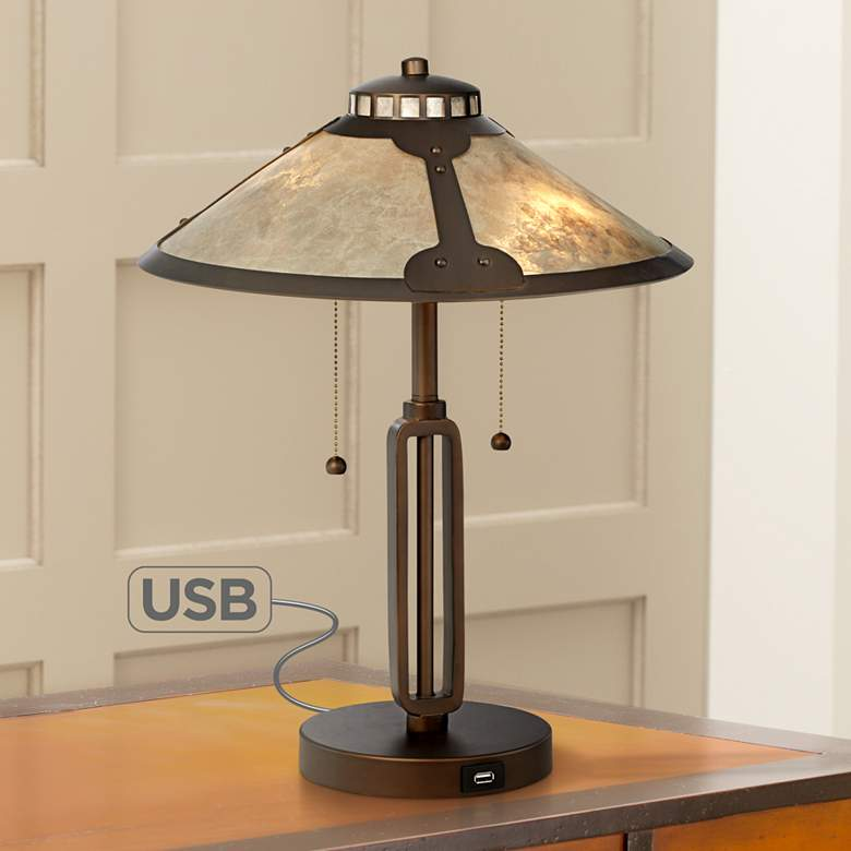Samuel Mica Shade Desk Lamp with USB Port