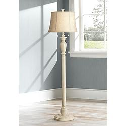 Lara Ivory Candlestick Vintage Chic Floor Lamp