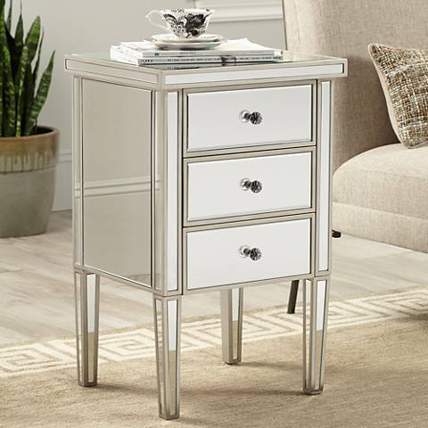 Olivia Antique Silver Mirrored 3-Drawer Accent Table