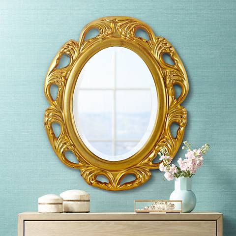 "Moraga Gold 23 1/4"" x 19 1/2"" Oval Wall Mirror"