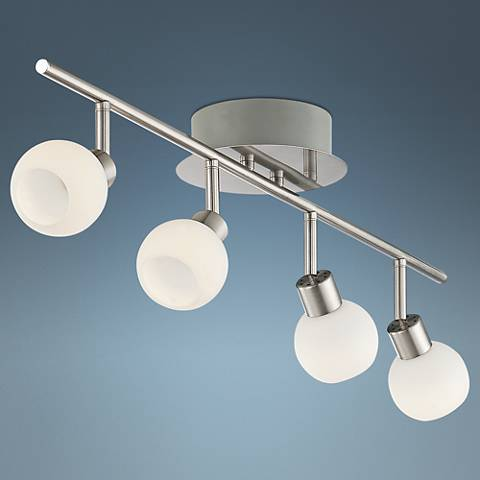 Globe Nickel 4-Light LED Track Fixture W/  Remote Control