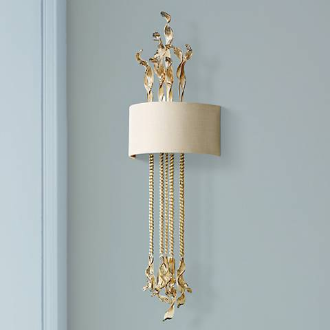 "Islet 17"" Wide Cognac Glass and Creme Wall Sconce"