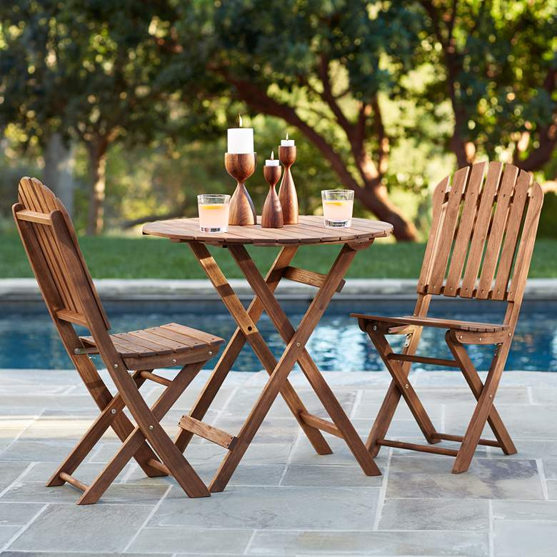 Monterey Natural Acacia Wood 3-Piece Bistro Dining Set