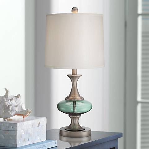 Reiner brushed steel and blue green glass table lamp 6w926 reiner brushed steel and blue green glass table lamp aloadofball