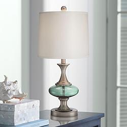 Reiner Brushed Nickel and Blue-Green Glass Table Lamp