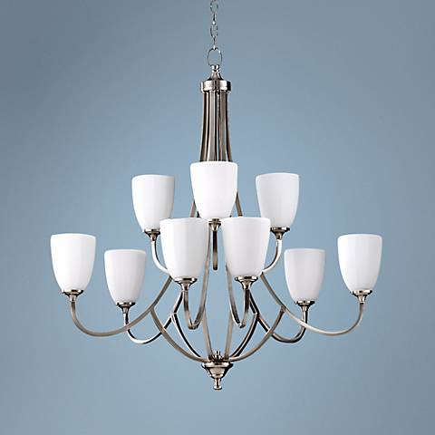 "Feiss Perry 32 1/2""W Brushed Steel 9-Light Chandelier"