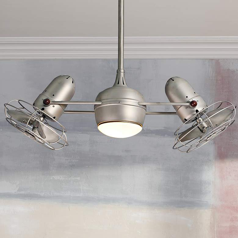 "39"" Matthews Dagny Brushed Nickel Lighted Dual Ceiling"