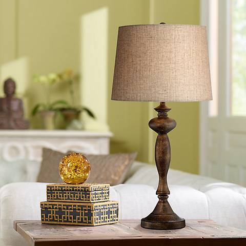 Bentley Brown Candlestick Table Lamp by Regency Hill