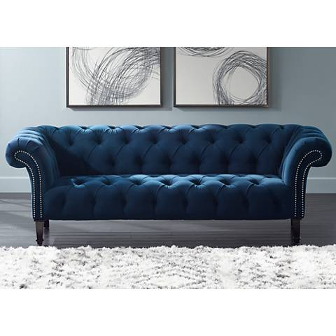 Tessa Shire Blue 90 3 4 Wide Tufted French Sofa