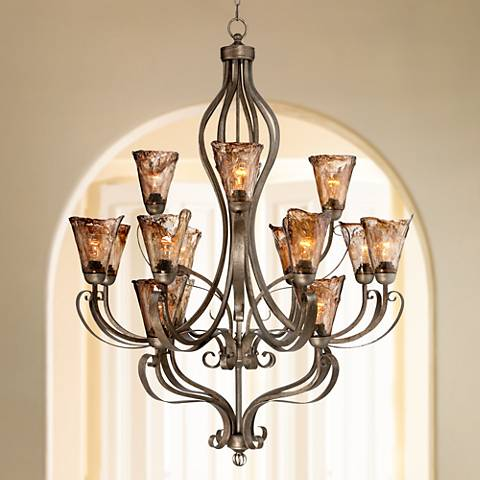 "Organic Amber Scroll 38"" Wide 16-Light Bronze Chandelier"