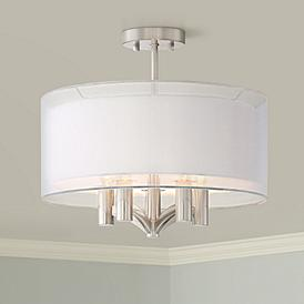 Brushed Nickel Semi Flush Mount Close