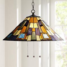 Arts and crafts mission pendant lighting lamps plus robert louis tiffany geo earth 21 14w plug in swag pendant mozeypictures Image collections
