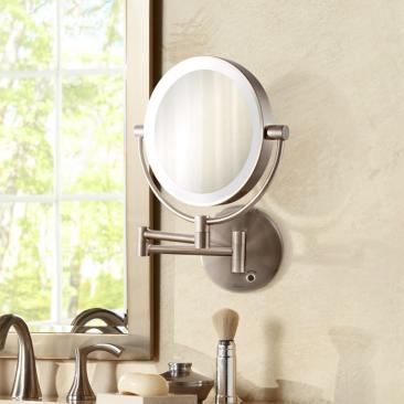 Satin Nickel Cordless LED Lighted Vanity Wall Mirror