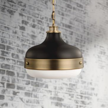 "Feiss Cadence 13"" Wide Antique Brass Mini Pendant Light"
