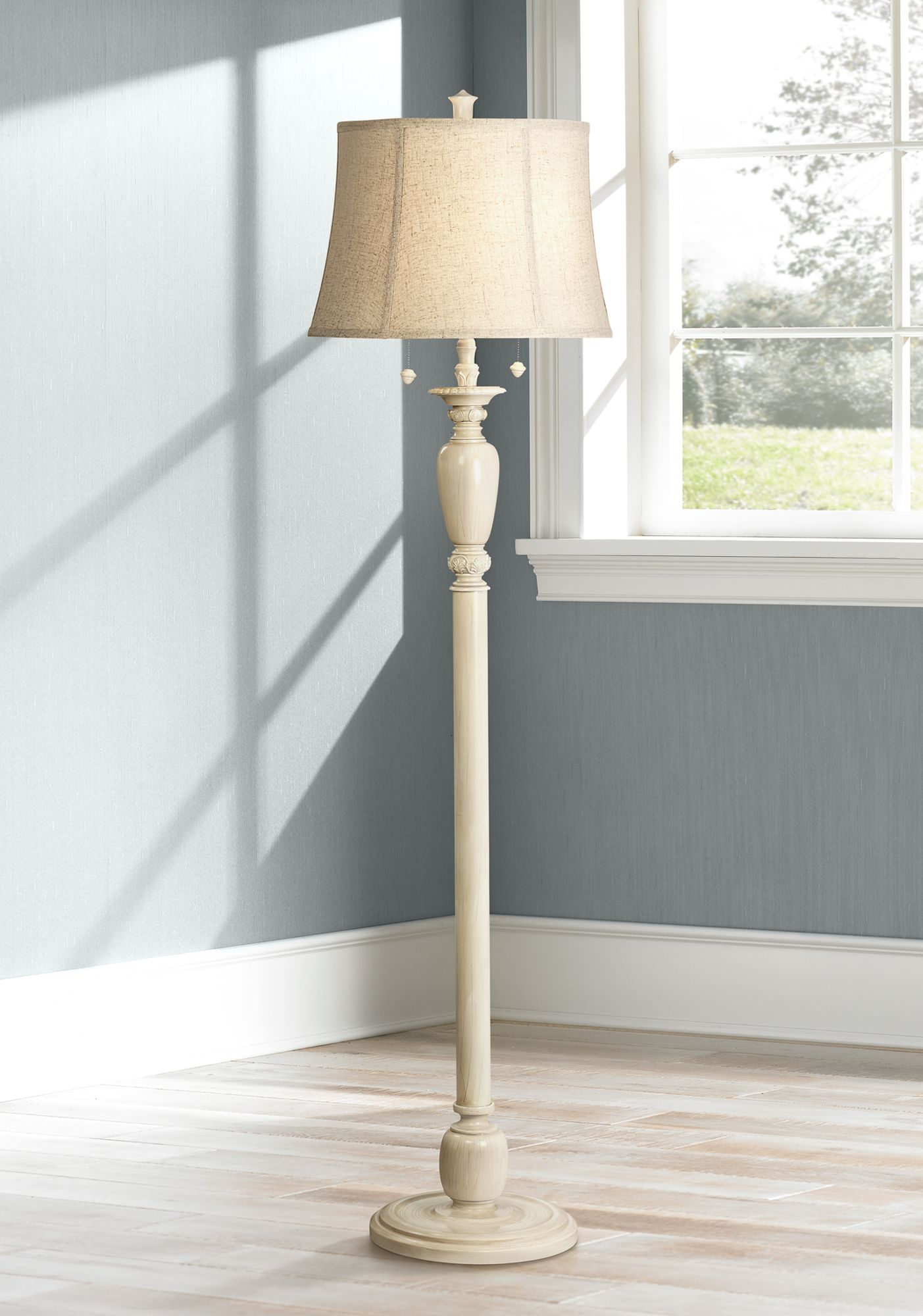 Wonderful Lara Ivory Candlestick Vintage Chic Floor Lamp