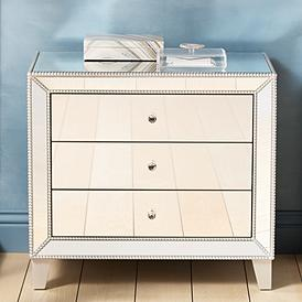 Liza 30 Wide Mirrored 3 Drawer Accent Table
