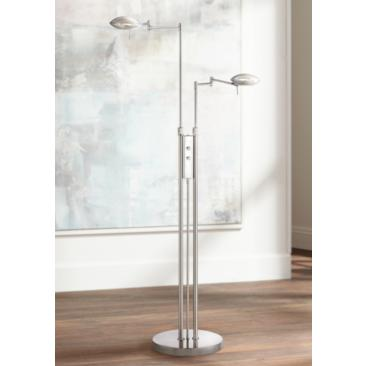 Possini Euro Journey Satin Nickel Swing Arm LED Floor Lamp