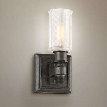"Vault 9 1/4"" High Aged Pewter Wall Sconce"