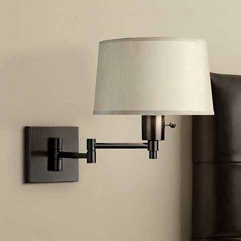Real Simple Black Matte Plug-In Swing Arm Wall Lamp
