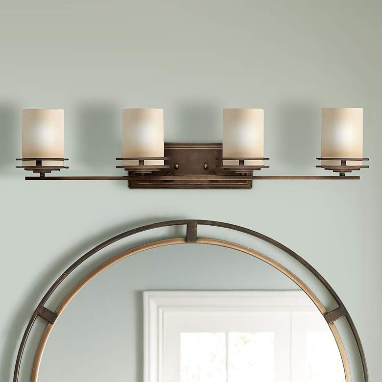 "Hendrik Bronze 34"" Wide Bathroom Light Fixture"