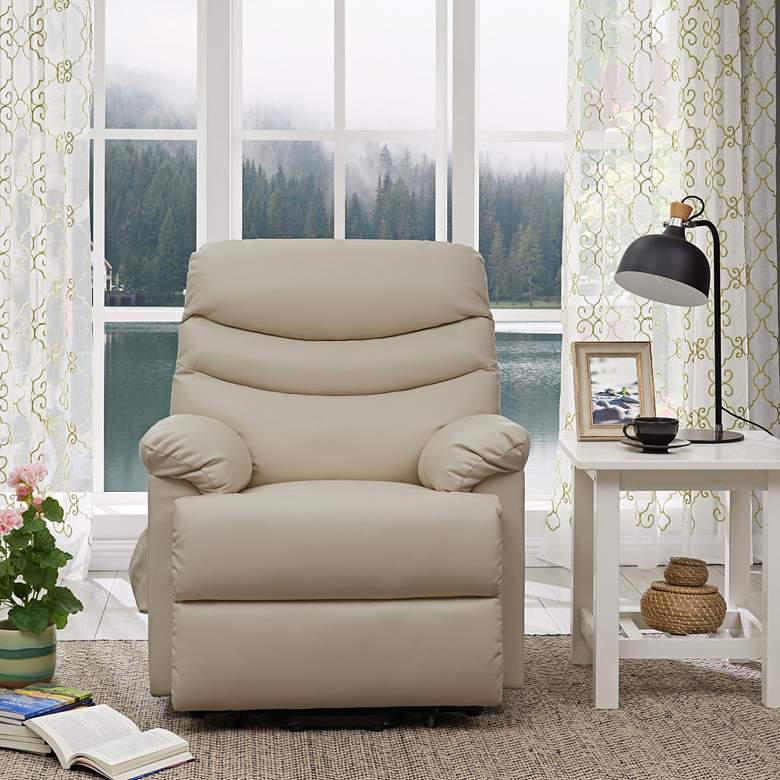 ProLounger Cream Renu Leather Power Lift Recliner Chair