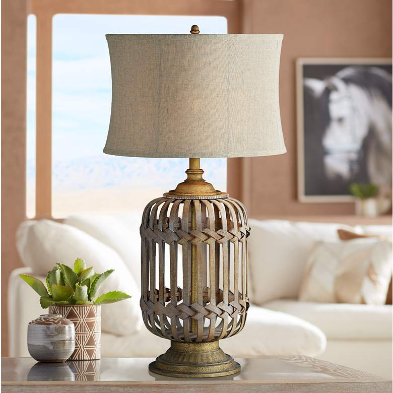 Lakeland Natural Rattan and Gray-Washed Cage Table Lamp