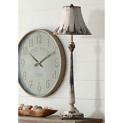 Forty West Laura Rustic White Metal Column Buffet Lamp