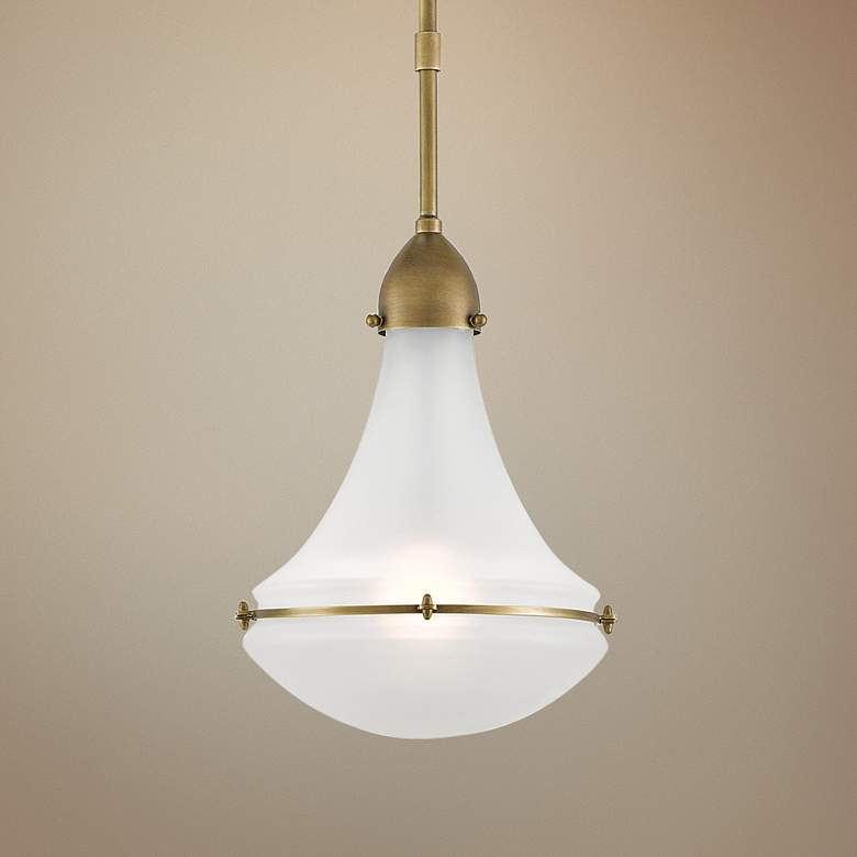 "Profile 9 1/2""W Antique Brass and Opaque Glass"