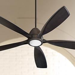 "56"" Quorum Holt Oiled Bronze LED Ceiling Fan"