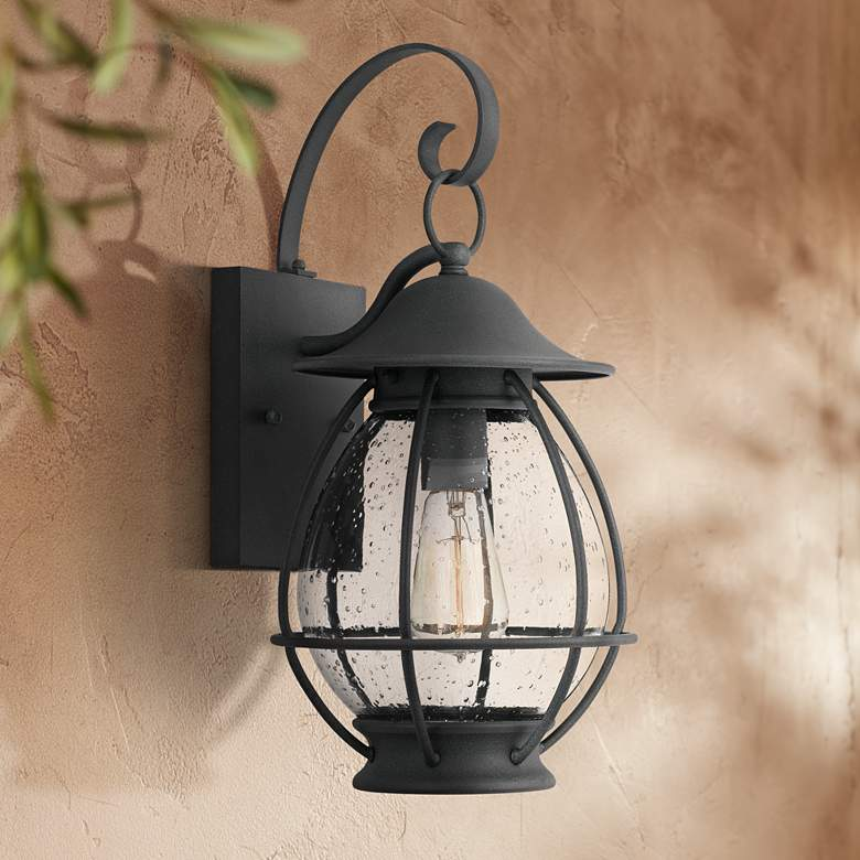 "Quoizel Boston 17"" High Mottled Black Outdoor Wall Light"